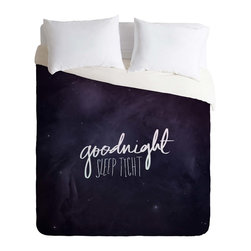 DENY Designs - DENY Designs Leah Flores Goodnight Duvet Cover - Lightweight - Turn your basic, boring down comforter into the super stylish focal point of your bedroom. Our Lightweight Duvet is made from an ultra soft, lightweight woven polyester, ivory-colored top with a 100% polyester, ivory-colored bottom. They include a hidden zipper with interior corner ties to secure your comforter. It is comfy, fade-resistant, machine washable and custom printed for each and every customer. If you're looking for a heavier duvet option, be sure to check out our Luxe Duvets!
