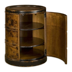Uttermost - Uttermost Lawton Drum Table - Solid, plantation-grown mango wood finished by hand in dark cinnamon with black rubbed edges. Hinged door with two adjustable shelves.