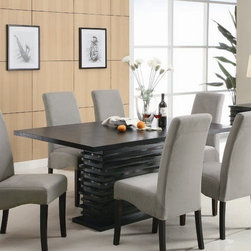 Wildon Home � - Brownville Dining Table - Redefine your dining room with this modern dining table. It features a unique trendy base that will impress your guests at your next dinner party. A flowing black finish completes this alluring piece. Combine this dining table with the side chairs from this collection for a complete set. Features: -Brownville collection. -Rich black finish. -Solid wood construction. -Contemporary style. -Slightly flared chair legs. -Straight edges. -Rectangular shape. -Single pedestal. -Smooth table tops. -Assembly required.