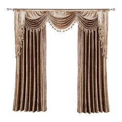 "New curtain release Sep 2014 - $399, this price includes 2 panels(each panel 54""/84"") and valance, no sheer, free shipping. Fabric is 100% Chenille."