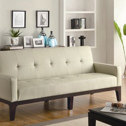Creme Leather Like Vinyl Sofa Bed