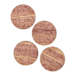 Inova Team -Rustic Cedar Wood Handmade Coasters - Set Of 4, Minneapolis - From the spot you met your sweetie to the locale of your favorite watering hole, this unique set of coasters celebrates the neighborhoods that make your city yours. Using her passion for typography and antique maps, graphic designer Aymie Spitzer maps out four sections of a city onto each coaster. She finishes one coaster with the city's name and established date, creating a a rustic metropolis in cedar wood. This charming set is a toast-worthy way to celebrate hometowns, new stomping grounds or favorite corners of the country.