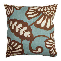 The Pillow Collection - Talin Blue 18 x 18 Floral Throw Pillow - - Pillows have hidden zippers for easy removal and cleaning  - Reversible pillow with same fabric on both sides  - Comes standard with a 5/95 feather blend pillow insert  - All four sides have a clean knife-edge finish  - Pillow insert is 19 x 19 to ensure a tight and generous fit  - Cover and insert made in the USA  - Spot clean and Dry cleaning recommended  - Fill Material: 5/95 down feather blend The Pillow Collection - P18-D-83137-AQUACOCOA-C100