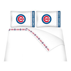 Sports Coverage - Sports Coverage MLB Chicago Cubs Microfiber Sheet Set - Full - MLB Chicago Cubs Microfiber Sheet Set have an ultra-fine peach weave that is softer and more comfortable than cotton! This Micro Fiber Sheet Set includes one flat sheet, one fitted sheet and a pillow case. Its brushed silk-like embrace provides good insulation and warmth, yet is breathable. It is wrinkle-resistant, stain-resistant, washes beautifully, and dries quickly. The pillowcase only has a white-on-white print and the officially licensed team name and logo printed in team colors. Made from 92 gsm microfiber for extra stability and soothing texture and 11 pocket. Sheet Sets are plain white in color with no team logo. Get your MLB Sheets Today.   Features:  -  92 gsm Microfiber,   - 100% Polyester,    - Machine wash in cold water with light colors,    -  Use gentle cycle and no bleach,   -  Tumble-dry,   - Do not iron,