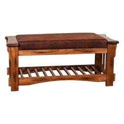 "Sunny Designs - Sedona Bench with Cushion Seat - Sedona Bench with Cushion Seat; Distressed Oak Solids and Veneers; Micro Fiber Cushion Seat,RTA; Dimensions:20""H x 44""W x 18""D"