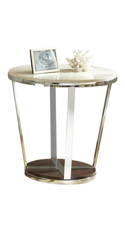 "Steve Silver - Steve Silver Bosco 24 Inch Round Faux Marble End Table - Chrome, faux marble and wood combine for the Bosco Collection, for a contemporary retro-modern style. The Bosco end table stands 24"" high, with a 24"" round top, a chrome frame and a dark wood bottom . This eye-catching piece complements the Bosco cocktail table and sofa tables. What's included: End Table (1)."