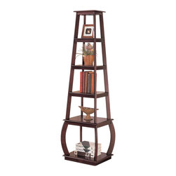 Adarn Inc. - Bookcasa Warm Wood Tone Five Tiered Shelves Transitional Storage Home Office - This unique bookcase will add stylish storage to any room of your home, great for a living room, home office, hallway, or other space that needs a personal touch. This square shelving unit will nicely fill a tight space, with five tiered shelves in varying sizes that will hold books, framed photos, and your favorite decorative accent items. Finished in a warm wood tone, this piece has clean lines and a simple shape to complement your decor no matter what your style. Accessories not included.