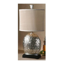 Uttermost - Billy Moon Harrison Silver Table Lamp - Designer: Billy Moon. 15 in. W x 10 in. D x 30 in. HThis lamp is constructed of small nickel plated squares with a matching finial and a matte black base. The oval drum shade is heavily pleated ivory linen textile.
