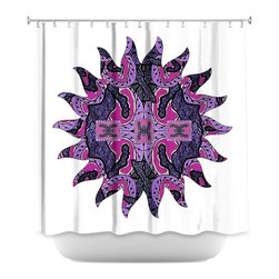 DiaNoche Designs - Shower Curtain Artistic - Purple Maze Sun - DiaNoche Designs works with artists from around the world to bring unique, artistic products to decorate all aspects of your home.  Our designer Shower Curtains will be the talk of every guest to visit your bathroom!  Our Shower Curtains have Sewn reinforced holes for curtain rings, Shower Curtain Rings Not Included.  Dye Sublimation printing adheres the ink to the material for long life and durability. Machine Wash upon arrival for maximum softness. Made in USA.  Shower Curtain Rings Not Included.