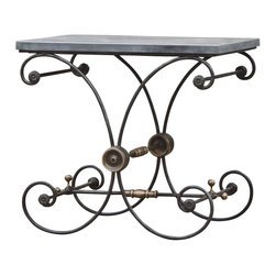 Marco Polo Imports - Thomas End Table - Majestic end table with slate seat and exquisitely crafted black iron frame.