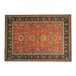 """Oriental Rug Galaxy - 10'0"""" x 14'3"""" Rust Red Antiqued Tabriz Hand Knotted Oriental Rug 100% Wool - Our Tribal & Geometric hand knotted rug collection, consists of classic rugs woven with geometric patterns based on traditional tribal motifs. You will find Kazak rugs and flat-woven Kilims with centuries-old classic Turkish, Persian, Caucasian and Armenian patterns. The collection also includes the antique, finely-woven Serapi Heriz, the Mamluk, Afghan, and the traditional handmade village Persian rugs."""