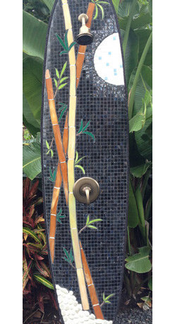 outdoor shower - Custom functional art, mosaic outdoor shower. Also considered surf art, recycled surfboard, or mosaic surfboard.