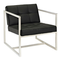 Modway Furniture - Modway Hover Lounge Chair in Black - Lounge Chair in Black belongs to Hover Collection by Modway Embrace mid-century elements with this welcoming reception seating chair. Hover is a modern chair, but not for the typical reasons. Its padded vinyl buttoned seat and back, and geometric stainless steel frame, truly develop space and form in an innovative way. Hover is perfect both for those offices looking to impress new clients, and for anyone who ever dreamed of stationary flight. Set Includes: One - Hover Modern Reception Chair Lounge (1)