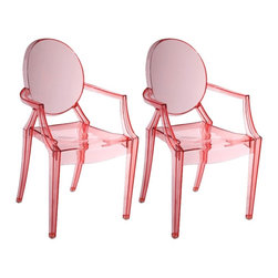 """Zuo - Set of Two Zuo Baby Anime Transparent Red Kids Armchairs - Simple and sophisticated this set of two Anime Collection transparent red kids armchairs is made of durable and flexible acrylic. The design is easily stackable so that it can be conveniently stored when not in use. With its elegant rounded back and angled arms this chair is sure to be a great look for your children's table bedroom or play area.  Set of 2. Acrylic construction. Transparent red kids armchair. Stackable design. Seat is 12"""" high and 11 1/2"""" wide. 25"""" high. 13 1/2"""" wide.  Set of 2 chairs.   Acrylic construction.   Transparent red kids armchair.   Lightweight lucite acrylic look.  Stackable design.   Seat is 12"""" high and 11 1/2"""" wide.   25"""" high.   13 1/2"""" wide."""