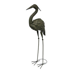 Zeckos - Verdigris Finish Metal Heron Garden Statue - This verdigris finish metal heron statue adds a wonderful decorative accent to your home or garden. The heron measures 40 inches tall, 14 inches long, 9 1/2 inches wide. It adds a lovely accent to flower beds, porches, or patios, and makes a great gift.