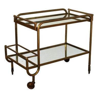 1STDIBS.COM - BLEND INTERIORS - French patinated brass 50's bar cart with remova - Every space needs a little bit of antique brass and this bar cart does the trick.
