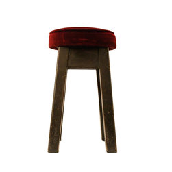 n/a - Consigned, Vintage Wood Pub Stools, Set of 6 - Set of 6 vintage oak pub stools from English pub with red velvet seat cushions.