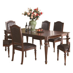 "Coaster - Dining Table (Rich Brown) By Coaster - Crafted from select hardwoods and cherry veneers, this formal dining table offers classic elegance to warm any home. Standing on four classically turned legs, the rectangular dining table offers one 18"" leaf that graciously allows you to provide your guests with a little more elbow room. Completed in a rich brown finish, this table will make a most alluring addition in any home. Matching chairs sold separately. Dims: 66""-84"" X 44"" X 30""."
