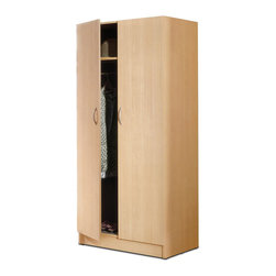 Nexera - Nexera Deco 2 Door Wardrobe Armoire in Natural Maple - Nexera - Armoires - 564 - This attractive economical wardrobe Armoire provides both shelving and space for hanging items. The brushed metal effect handles and beautiful natural maple finish ensure this wardrobe will fit in with almost any decor in your home.