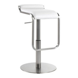 Nuevoliving - Nuevo Living Adora Stool - White - Trendy and sophisticated barstool brings exciting style and modern lines to your dining area, bar and more. stainless steel frame gives you outstanding stability, while one-touch height adjust puts you in prime position. backless stool also has supple black leather upholstered seat.