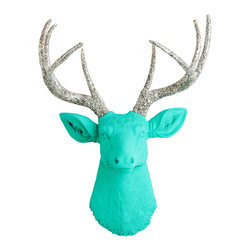 White Faux Taxidermy - The Chloe - Turquoise Faux Resin Deer Head w/Silver Glitter Antlers - Measurements: