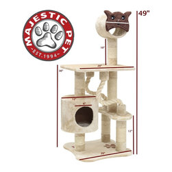 Majestic Pet - Majestic Pet Products 49 in. Casita Fur Cat Tree with Kitty Face Multicolor - 78 - Shop for Towers and Houses and Accessories from Hayneedle.com! Standing over four feet tall the Majestic Pet Products 49 in. Casita Fur Cat Tree is a towering piece of kitty heaven. This faux fur-wrapped cat tree lets your cat climb up and up for a good rest or observation. They will also find Sisal rope everywhere for a good scratch that won't ruin the furniture. This exciting car tree assembles in no time flat with the included tools so your cat can get to it.