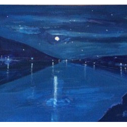 Blue River (Original) by Michael Kane - A hauntiing view of a full moon over rural river.