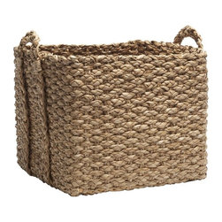 Braided Storage Bin - Perfect for holding firewood, these baskets are handwoven from natural Bankuan grass. I love their earthy look, functionality and size.