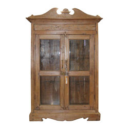 "Old World Display Case - 52.5"" Tall Old World Carved Cabinet is made out of beautifully carved hardwood and has hand forged iron hardware. Storage for all your treasures. This cabinet is truly unique and worthy of admiration. Many of the pieces in our collection have recycled wood in one way or another. Old World Style Furniture can be added to almost any home decor. Approx"