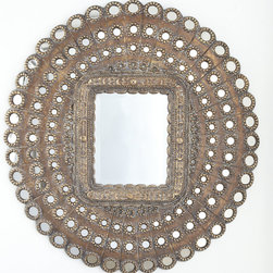 Baby Peacock Mirror - This mirror exemplifies style. It is composed of intricate metal details and cutouts. It is a piece of art in itself — with the option of a mirror. The gold color makes it stand out and makes it versatile with many different color palettes.