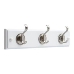 Liberty Hardware - Liberty Hardware 133074 0 14 Inch Hook - Flat White & Satin Nickel - Organization with style has never been so easy. This wood rail with three metal hooks is designed to hold a wide variety of items  coats, hats, handbags, umbrellas, towels or robes. This classic design is perfectly suited for any room from the entryway to the bathroom. Embrace the Liberty® of organization!. Width - 14 Inch,Height - 3.7 Inch,Projection - 2.1 Inch,Finish - Flat White & Satin Nickel,Weight - 0.94 Lbs