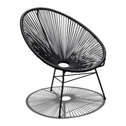 Harmonia Living - Acapulco Patio Chair, Jet Black - Call for the lemonade, put up your feet and let this patio chair cool you off. Shaped like a fan, the woven structure lets the breeze flow around your entire body. Incredibly comfortable, it's easy to clean and durable because its weather-resistant powder-coated steel frame practically shirks dirt.