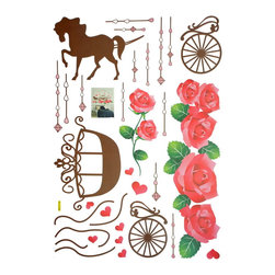 Blancho Bedding - Romantic Carriage - Large Wall Decals Stickers Appliques Home Decor - The decals are made of a high quality, waterproof, and durable vinyl and will stick to any smooth surface such as walls, doors, glass, cabinets, appliances, etc. You can add your own unique style in minutes! This decal is a perfect gift for friend or family who enjoy decorating their homes. Imaginative art for you and won't damage your walls! Without much effort and cost you can decorate and style your home. Quick and easy to apply~!!! Important: This wall sticker contains white edges around the patterns, white wall is required for the best results.
