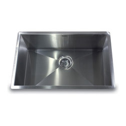 """Nantucket Sinks - Nantucket Sink zr2818-16 - 28"""" Pro Series large Rectangle Single Bowl Undermount - This undermount Pro Series rectangle fits in a 30"""" sink base and  provides 90° corners for additional space and a fresh modern industrial look. The bottom of the sink has channel grooves to divert water for proper drainage."""