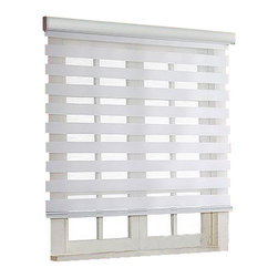 "Blinds-US - Roller Zebra Blind / Light filtering sheer shade, White, 34""in W X 72""in L / 86c - Product Description"