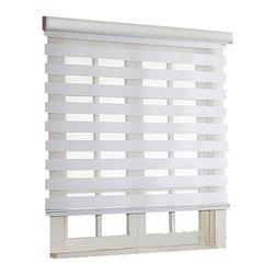"Blinds-US - Roller Zebra Blind / Light filtering sheer shade, White, 34""in W X 72""in L / 86c - Product Description"