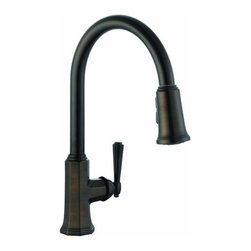 DHI-Corp - Barcelona Kitchen Faucet with Pullout Sprayer, Brushed Bronze - The Design House 524520 Barcelona Kitchen Faucet with Pullout Sprayer features a single handle design with a 59-inch soft hose pullout side sprayer which eliminates baked on residue and rinses dishes and silverware clean of food and grime in hard to reach areas. Finished in brushed bronze and designed with a classic octagonal style, this faucet set is refined and elegant with a ceramic cartridge and brass waterways. The brass waterways contain zinc and copper which are known to prevent antimicrobial growth ensuring safe and clean water for your family. This faucet has a rustic shabby chic design, meshing modern construction with vintage aesthetics contributing to the comfort and style of any kitchen. The 1.9-gallon per minute flow rate ensures a steady water flow after years of everyday use and is UPC, Ab-1953 and cUPc compliant. Wash dishes or fill pitchers with ease underneath this high vaulted faucet. With a quick connect system, this product adheres to industry leading practices and standards. The Design House 524520 Barcelona Kitchen Faucet with Pullout Sprayer comes with a lifetime limited warranty that protects against defects in materials and workmanship. Design House offers products in multiple home decor categories including lighting, ceiling fans, hardware and plumbing products. With years of hands-on experience, Design House understands every aspect of the home decor industry, and devotes itself to providing quality products across the home decor spectrum. Providing value to their customers, Design House uses industry leading merchandising solutions and innovative programs. Design House is committed to providing high quality products for your home improvement projects.