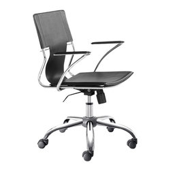 ZUO - Zuo Trafico Office Chair in Black (Set of 2) - Work in style and comfort with this sleek office chair as your desk seat. This modern chair features a gleaming chrome frame, a luxe leatherette sling seat, and supportive arm pads with a chrome base. With a fully adjustable height function and wheels to move around the office, you'll feel an ease of your work flow like never before.