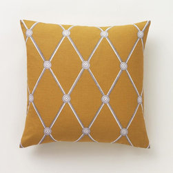 "Dwell Studio - Dwell Studio Hadley Mustard Pillow - This season's geometric pattern re-energizes the room with an architectural trellis print that features Trompe L'Oeil details. This pillow is named for decorator-great Albert Hadley of the famed Parish-Hadley interior design team. This print was hand painted in our studio.Hand-printed on a sumptuous linen/cotton blend.- Linen/cotton.- Hand-printed in Lithuania.- 18"" x 18""- Down feather insert included.- Hidden zipper closure.Cleaning & Care: Dry clean only."