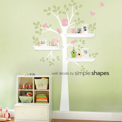 Tree Wall Decal - Shelving Tree Decal with Birds - Three Colors - Simple Shapes
