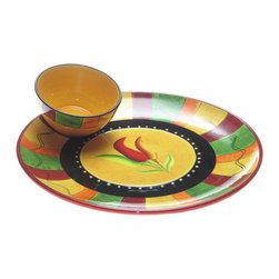 Certified International - Certified International 15-inch Caliente Chip and Dip Set - This chip and dip set will have you entertaining in style. It features a ceramic plate,perfect for chips,veggies,or crackers,and a bowl for salsa,hummus,or dip. Keep all your entertaining items in one easy-to-reach place with this lovely set.