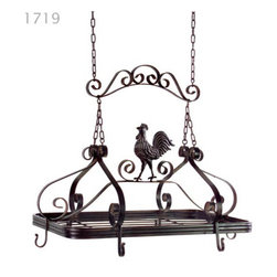 OLD WORLD ROOSTER COUNTRY FRENCH POT RACK IRON TUSCAN - *Brown metal hanging pot rack with country kitchen rooster.