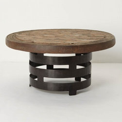 "Rotunda Coffee Table - Anthropologie.com - A good way to introduce industrial modern touches to your space is in just a piece of furniture or two. This round coffee table melds reclaimed wood and iron into a pleasing vintage modern piece.    * Reclaimed wood, iron    * 18""H, 34""diameter    * Imported       $598.00"