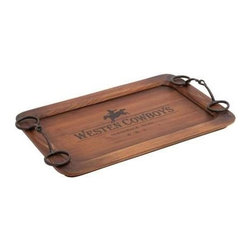 Benzara - Cowboy Themed Classy Wooden Metal Tray - Cowboy Themed Classy Wooden Metal Tray. Serve your guest in style with this cowboy themed classy wooden metal tray. This tray will add spice to any party, event or your decor. Some assembly may be required.
