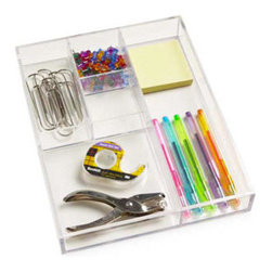 5-Section Acrylic Divided Tray - These clear plastic dividers are a great way to keep drawers tidy.