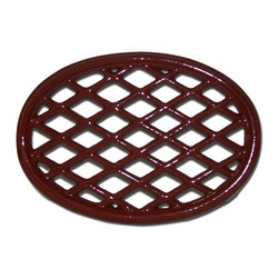 John Wright - Lattice Trivet, Apple Red - Designed to match our Lattice Steamers, these trivets are also porcelain-coated to resist rusting and chipping. Used under Steamers, they protect your woodstove from scratches and also slow down the heating process (so you don't have to fill the steamers as frequently!). But there are many other creative uses - in the kitchen under hot pans, under a potted plant, or as the base of a table centerpiece.