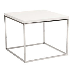 "Eurostyle - Eurostyle Teresa Square Side Table in White Lacquer - Eurostyle - End Tables - 09802WHT - There's plain and there's perfect. This collection of 4 Teresa table designs are not only perfectly designed for strength and timeless style they work beautifully together. Go for the group! White Lacquer / Polished Stainless SteelHigh gloss lacquerPolished stainless steel baseEasy to clean high gloss lacquerMatching coffee and console tablesMinimalist modern design Specifications:Overall Product Dimensions:18"" H x 24"" W x 24"" DProduct Weight: 20.3 lbs1 Year Manufacturer's Warranty"