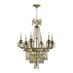 Kathy Kuo Home - Buckingham Victorian Champagne Crystal 6 Light Chandelier - The Buckingham chandelier features long vertical icicle drops of champagne crystal detailing reminiscent of an aristocratic Victorian era.  Executed in wrought iron in a mottled brown St. Regis bronze finish, the long swags of crystal detailing has gained popularity since the remodeling of the Buckingham palace in 1825.