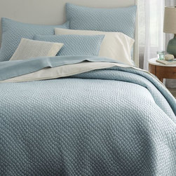 Lexington Coverlet, Light Pool - We have this in gray but love it in this light blue shade too!