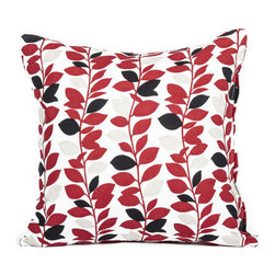 "Blooming Home Decor - Red & Black Branch Leaf Pattern Accent Throw Pillow Cover 16""x16"" - - 16"" square"
